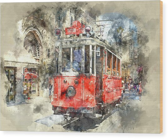 Istanbul Turkey Red Trolley Digital Watercolor On Photograph Wood Print