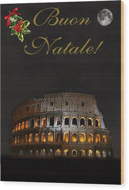 Italian Christmas Card Rome Wood Print