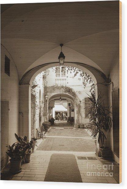 Italian Courtyard  Wood Print
