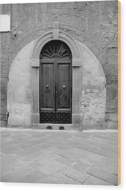 Italian Door In Black And White Wood Print by Michael Riley & Italian Door In Black And White Photograph by Michael Riley