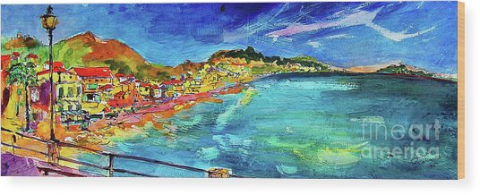 Italian Riviera Coastline Ocean View Wood Print