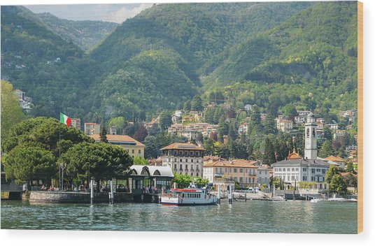Italian Village On Lake Como Wood Print