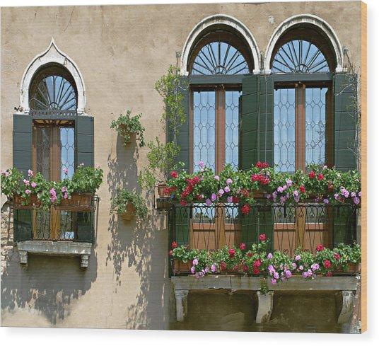Italian Windows Wood Print by Julie Geiss