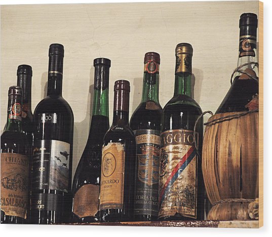 Italian Wine Wood Print by Marion McCristall