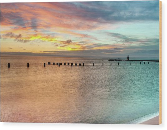 It's A Perfect Life - Chicago Art - Lake Michigan Print - Minimalism Art Wood Print