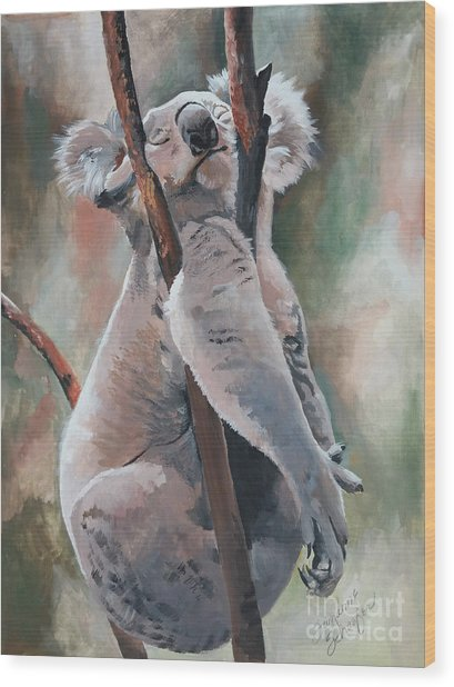 Its About Trust - Koala Bear Wood Print by Suzanne Schaefer