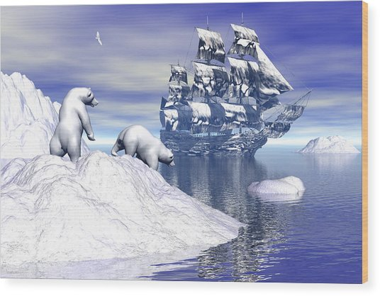 Its Really Cold Wood Print by Claude McCoy