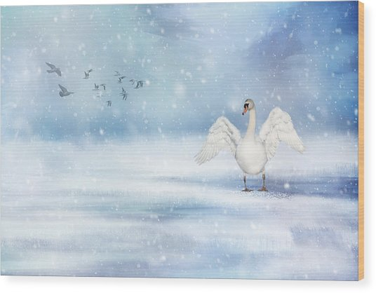 It's Snowing Wood Print