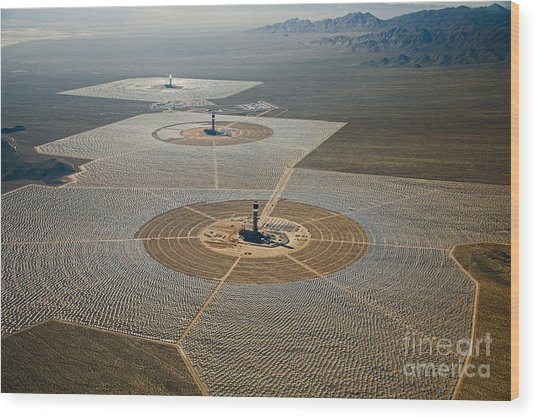Ivanpah Solar Power Plant Wood Print