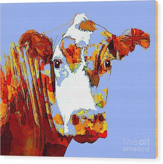 Purple Cow Wood Print