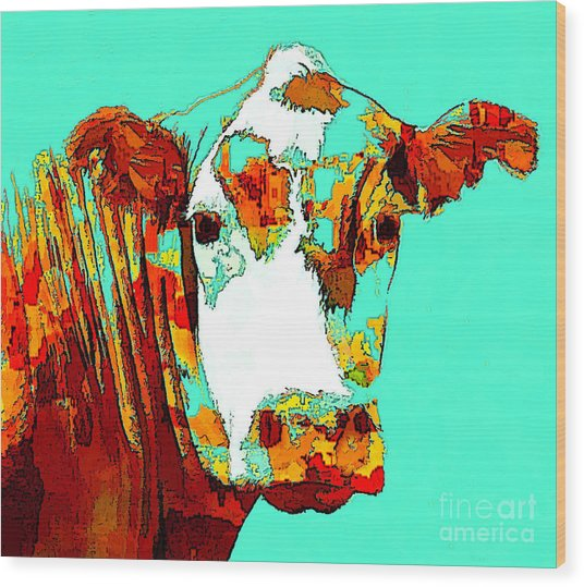 Turquoise Cow Wood Print
