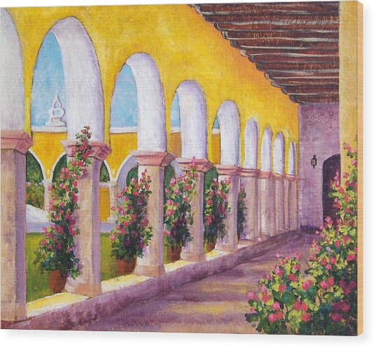 Izamal Arches Wood Print by Candy Mayer