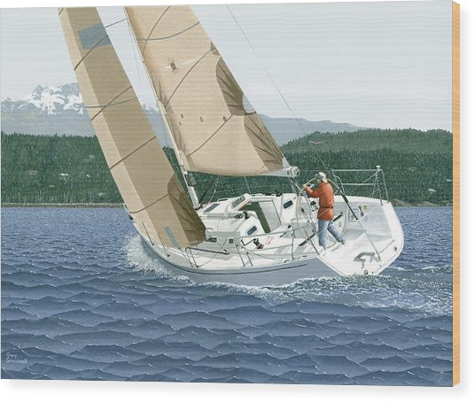 J-109 Sailboat Sail Boat Sailing 109 Wood Print