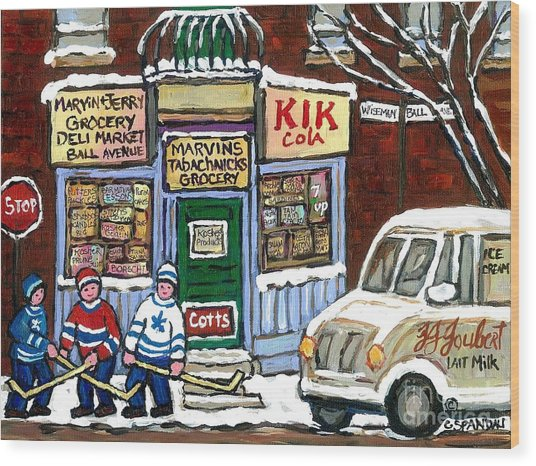 J J Joubert Vintage Milk Truck At Marvin's Grocery Montreal Memories Street Hockey Best Hockey Art Wood Print