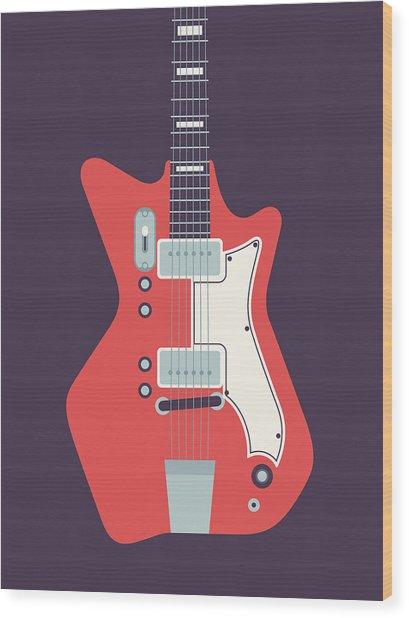 60's Electric Guitar - Black Wood Print