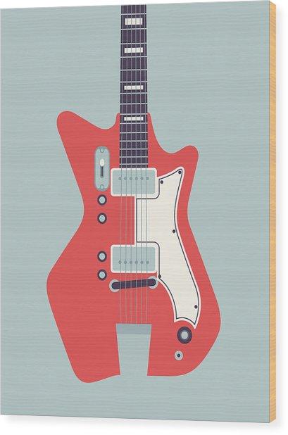 60's Electric Guitar - Grey Wood Print