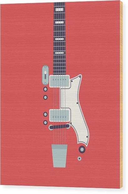 60's Electric Guitar - Red Wood Print