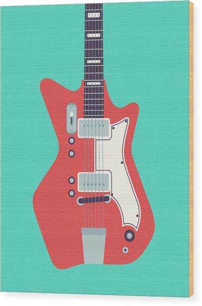 60's Electric Guitar - Teal Wood Print
