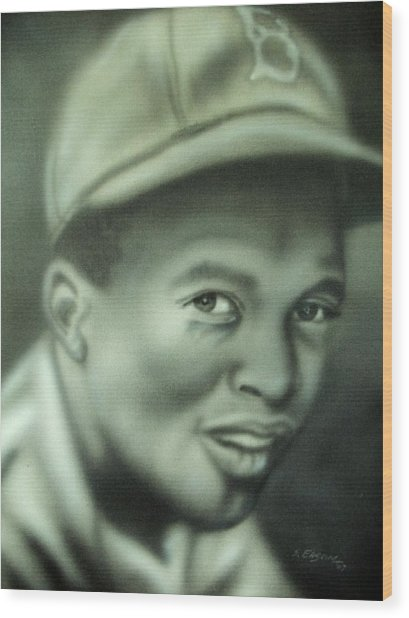 Jackie Robinson Wood Print by Scott Easom