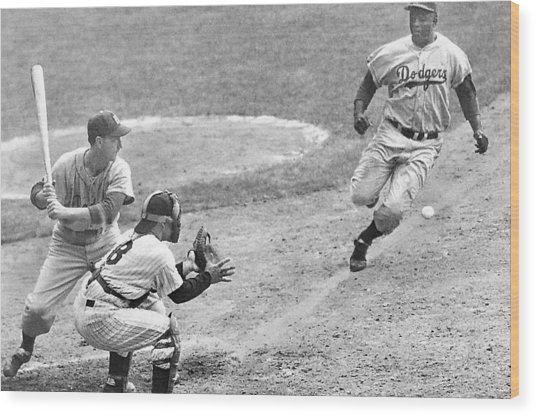Jackie Robinson Stealing Home Yogi Berra Catcher In 1st Game 1955 World Series Wood Print