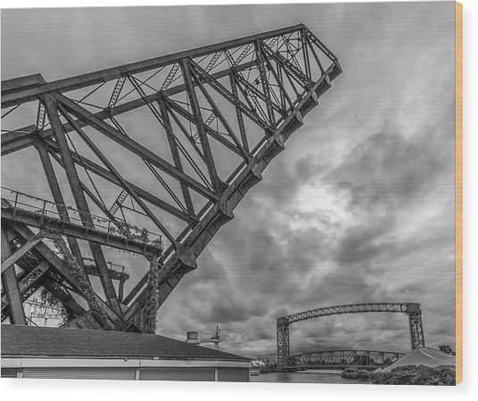 Jackknife Bridge To The Clouds B And W Wood Print