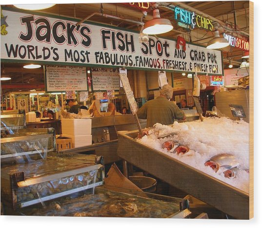 Jacks Fish Spot And Crab Pot-seattle Pike Place Market Wood Print by Candace Garcia
