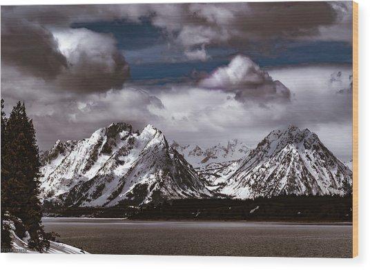 Jackson Lake Peaks Wood Print