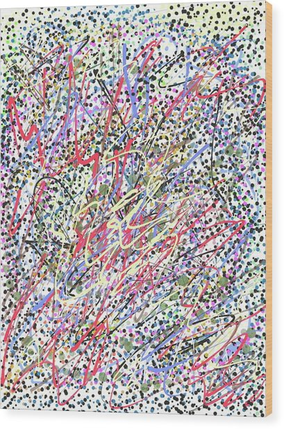 Jackson Pollock Style Digital  Wood Print by Marita McVeigh