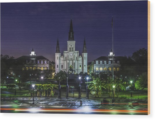 Jackson Square And St. Louis Cathedral At Dawn, New Orleans, Louisiana Wood Print