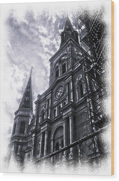 Jackson Square Cathedral Wood Print by Linda Kish