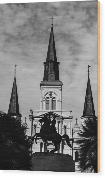 Jackson Square - Monochrome Wood Print