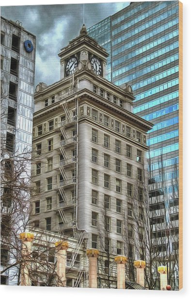 Jackson Tower Portland Oregon Wood Print