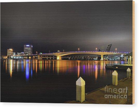 Jacksonville Night Sky Wood Print
