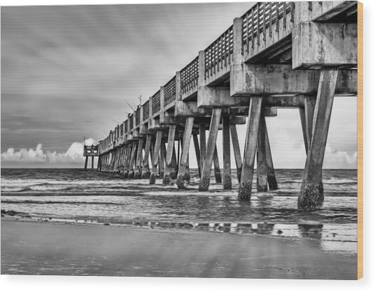 Jacksonville Beach Pier In Black And White Wood Print