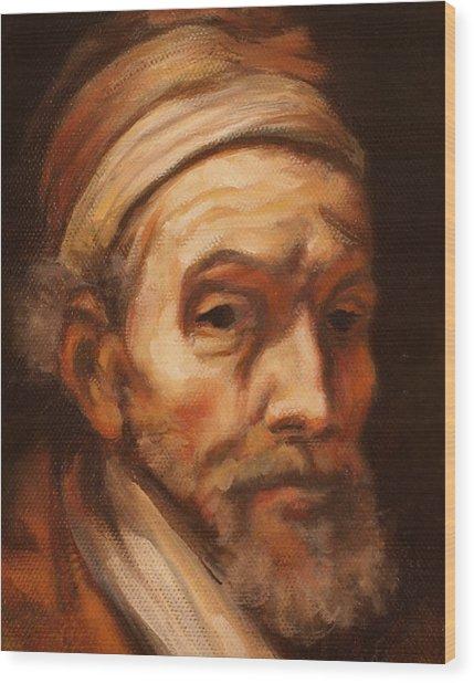Jacob Trip After Rembrandt Closeup Of Face Wood Print