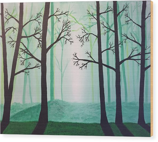 Jaded Forest Wood Print