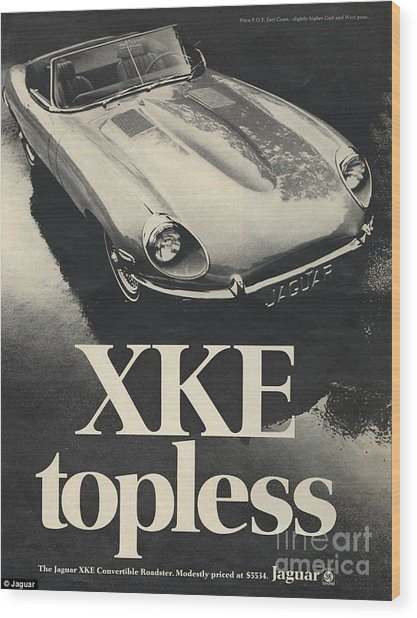 Jaguar Automobile Xke Topless Advert Wood Print
