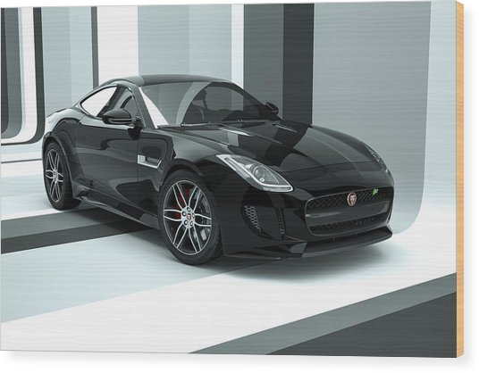 Jaguar F-type - Black Retro Wood Print