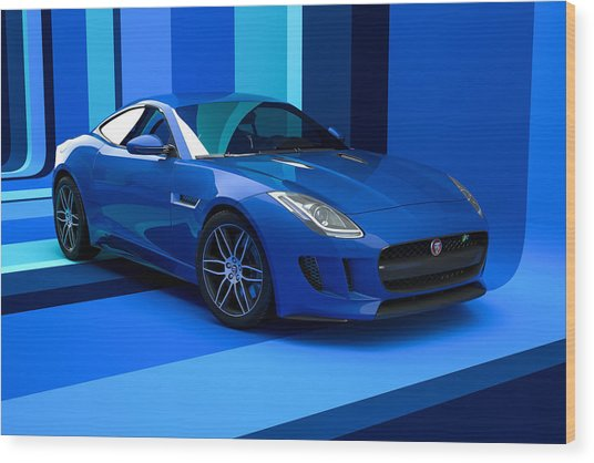 Jaguar F-type - Blue Retro Wood Print