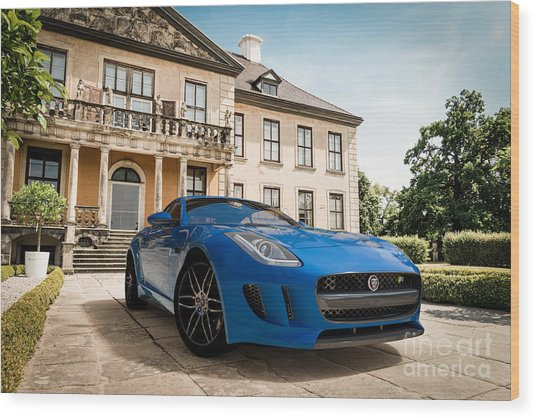 Jaguar F-type - Blue - Villa Wood Print