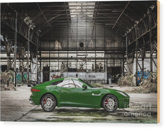 Jaguar F-type - British Racing Green - Side View Wood Print