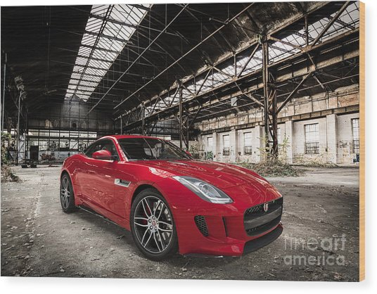 Jaguar F-type - Red - Front View Wood Print