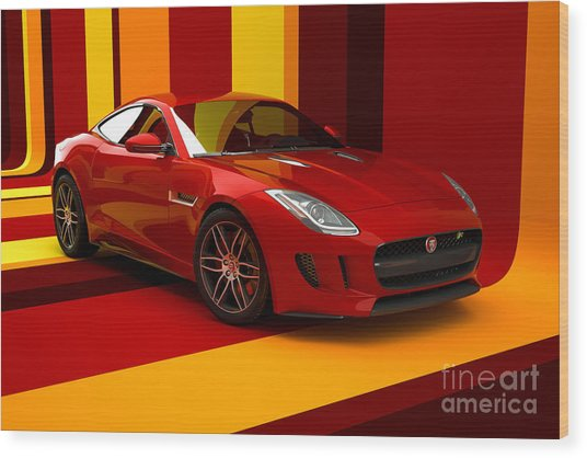 Jaguar F-type - Red Retro Wood Print