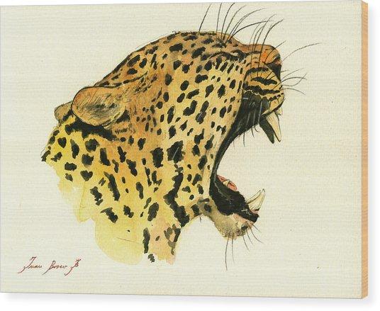 Jaguar Head Painting Watercolor Wood Print