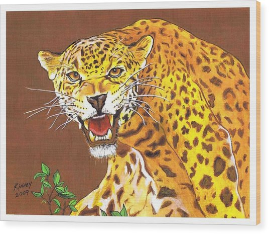 Jaguar Wood Print by Jay Kinney