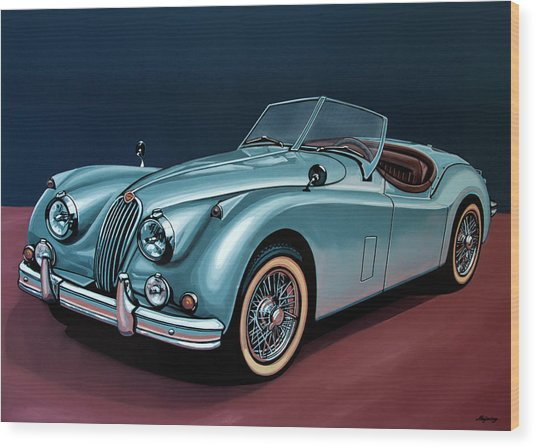 Jaguar Xk140 1954 Painting Wood Print
