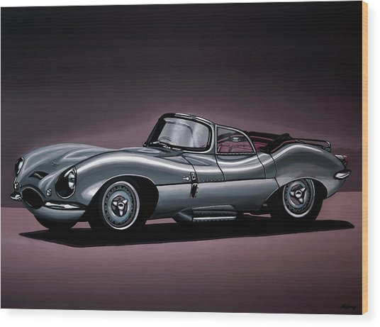 Jaguar Xkss 1957 Painting Wood Print