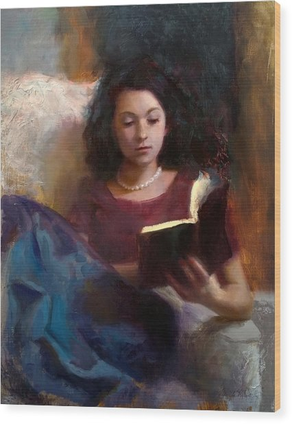 Jaidyn Reading A Book 1 - Portrait Of Young Woman - Girls Who Read - Books In Art Wood Print