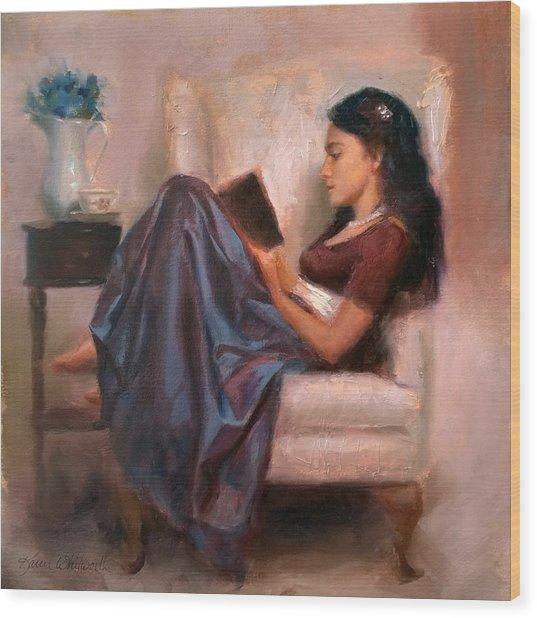Jaidyn Reading A Book 2 - Portrait Of Woman Wood Print