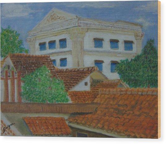 Jakarta Roofs Wood Print by SAIGON De Manila